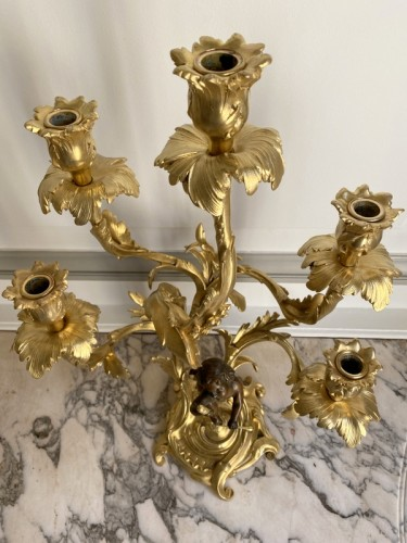 Antiquités - Pair of gilt bronze candlesticks, Late 19th centuy