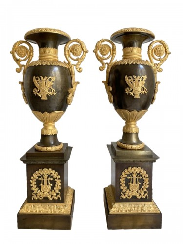 Pair of gilt bronze restoration cassolettes vases