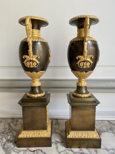 Pair of gilt bronze restoration cassolettes vases -