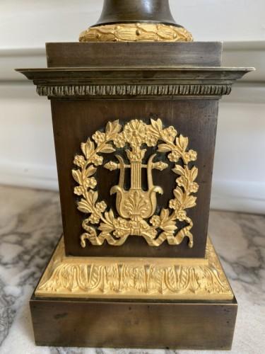 Pair of gilt bronze restoration cassolettes vases - Restauration - Charles X