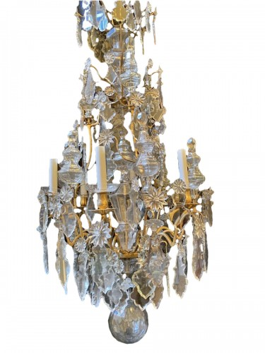Louis XV cage chandelier in gilded bronze and crystal