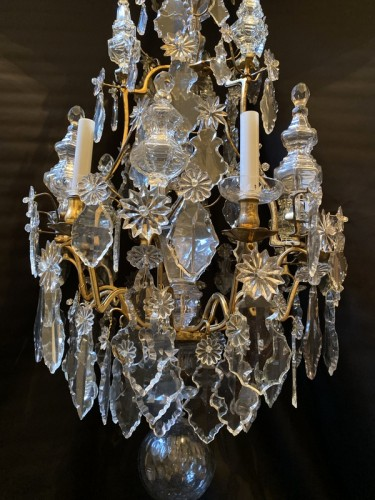 18th century - Louis XV cage chandelier in gilded bronze and crystal