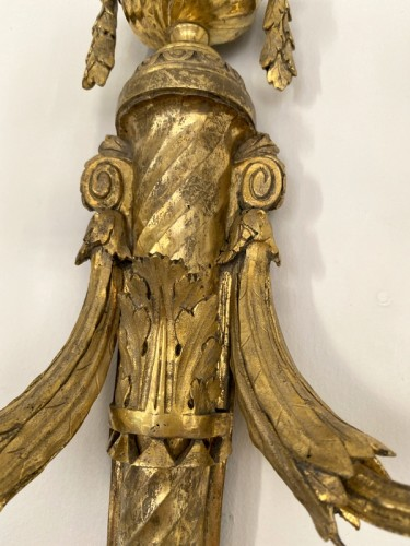 18th century - Pair of Louis XVI gilt bronze sconces after Prieur