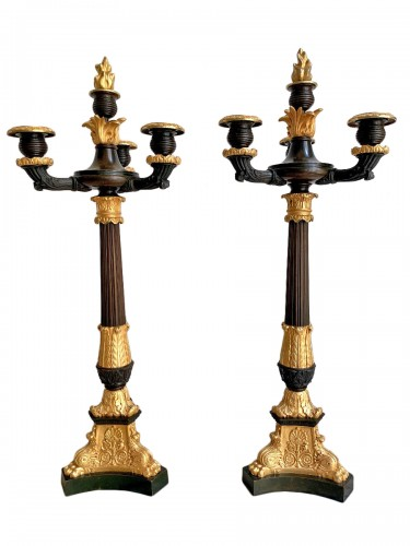 Pair of Empire candelabra in gilded and patinated bronze