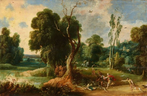 Jan Wildens (Antwerp 1585-1653) - Landscape with Meleager and Atalanta