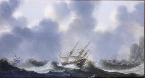 Ships in choppy Waters - Claes Claesz Wou (1592-1665)