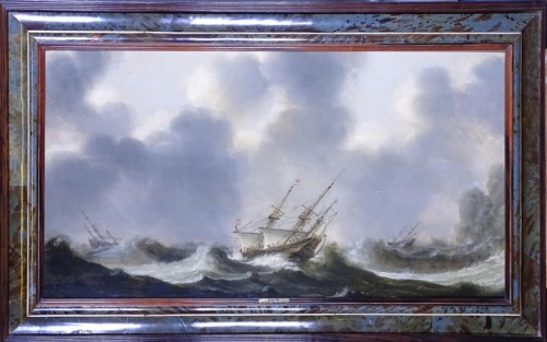 Ships in choppy Waters - Claes Claesz Wou (1592-1665) - Paintings & Drawings Style