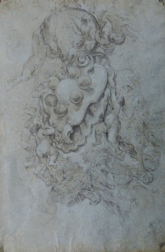 Livio Mehus (1630 - 1691) - The Coat of Arms of the Medici supported in the Sky by Putti