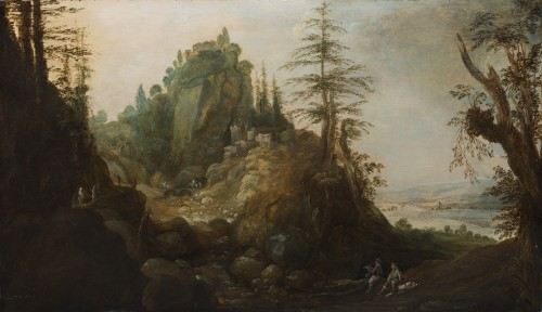 Landscape With travellers - Flemish School Early 17th century