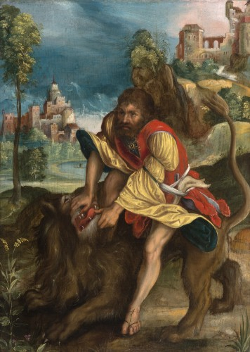 Samson and the Lion - German School of the 16th century