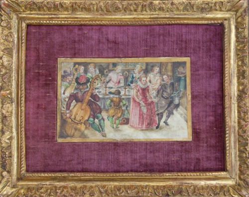 An elegant company dancing, eating, drinking and making music - Paintings & Drawings Style