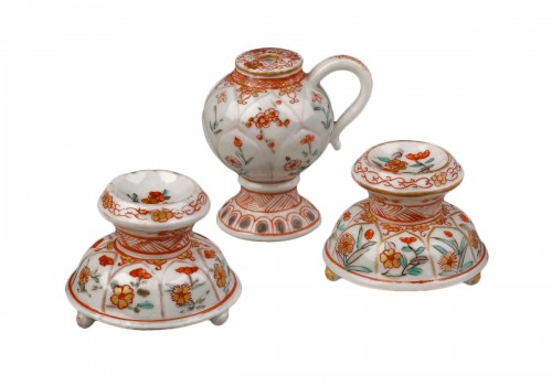 Two Saltcellars and a Mustard Pot, Japan, Dutch decorated