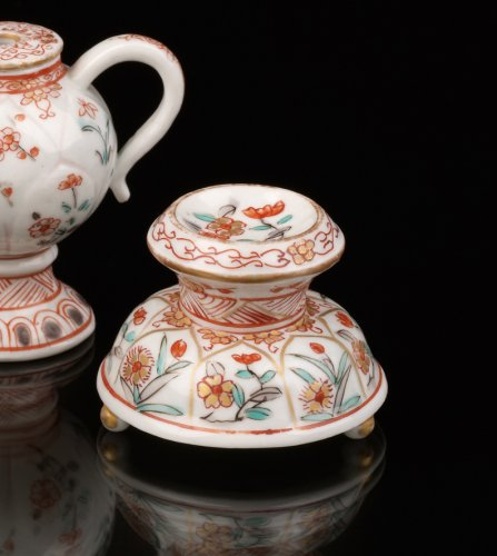 Two Saltcellars and a Mustard Pot, Japan, Dutch decorated -