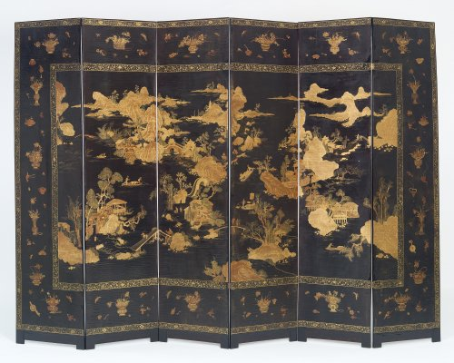 Japanese Six-fold Lacquered Screen - Asian Art & Antiques Style