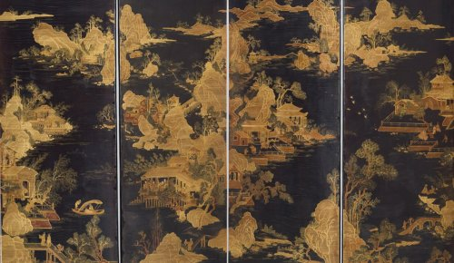 Asian Art & Antiques  - Japanese Six-fold Lacquered Screen