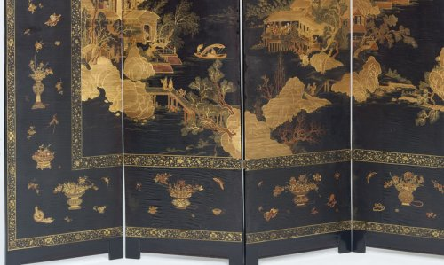 Japanese Six-fold Lacquered Screen -