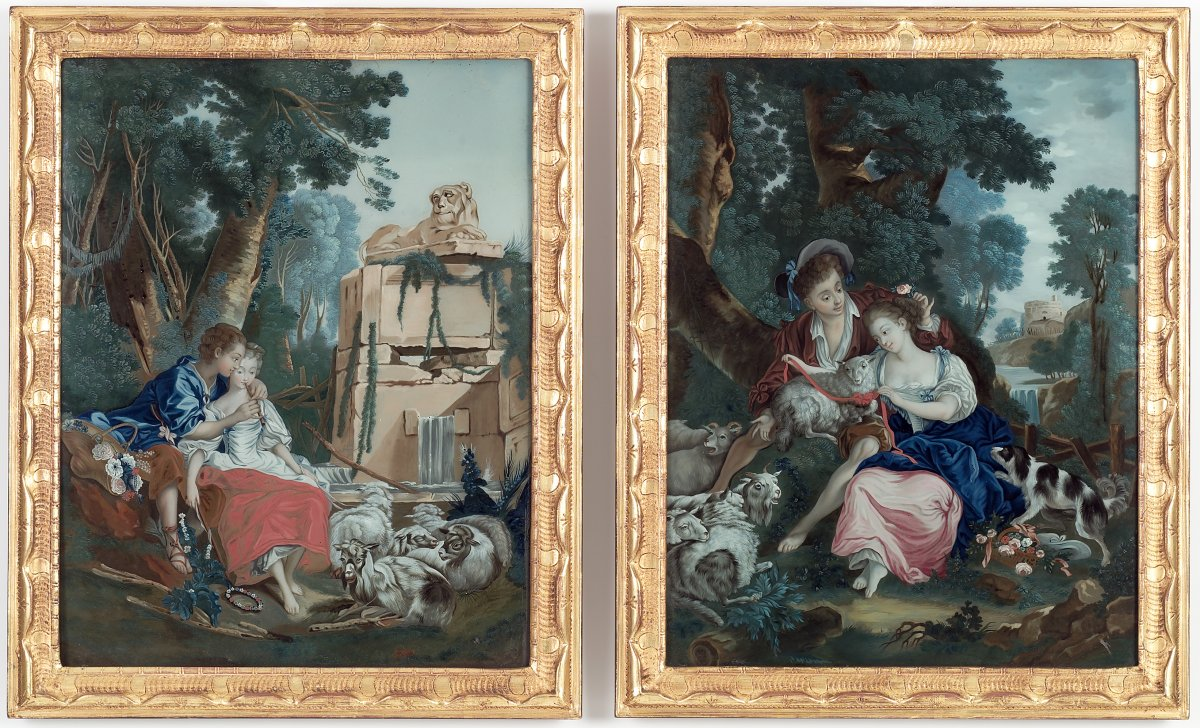Two Chinese Reverse Mirror Paintings After Boucher And