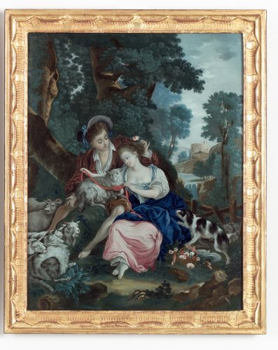 Two Chinese Reverse Mirror Paintings,  after  Boucher and Eise -