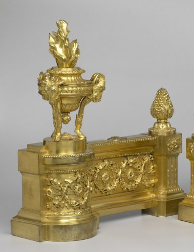 Pair of French Louis XVI Chenets - Decorative Objects Style Louis XVI