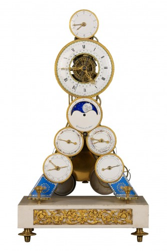 French Revolutionary Skeleton Clock with Dual Time Display