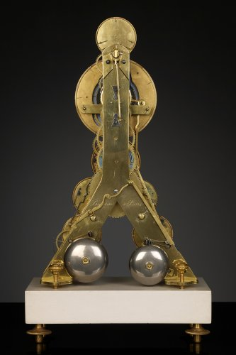 French Revolutionary Skeleton Clock with Dual Time Display - Clocks Style Directoire