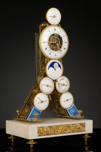 French Revolutionary Skeleton Clock with Dual Time Display -