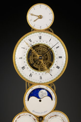 18th century - French Revolutionary Skeleton Clock with Dual Time Display