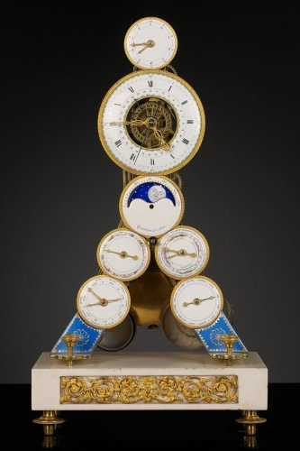 Directoire - French Revolutionary Skeleton Clock with Dual Time Display