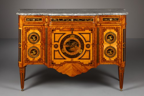 Furniture  - Dutch Louis XVI Commode with Lacquered Panels