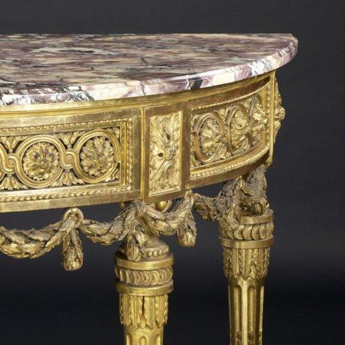 North-Italian Louis XVI Demi-lune Console Table -