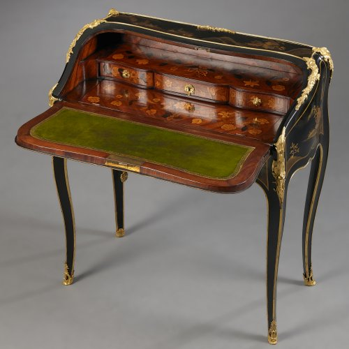 Furniture  - A Very Fine French Ormolu Mounted European Lacquered Bureau en Pente