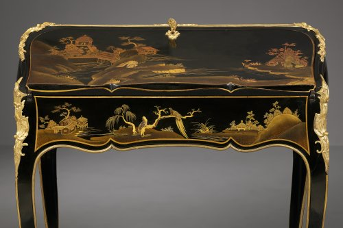 A Very Fine French Ormolu Mounted European Lacquered Bureau en Pente -