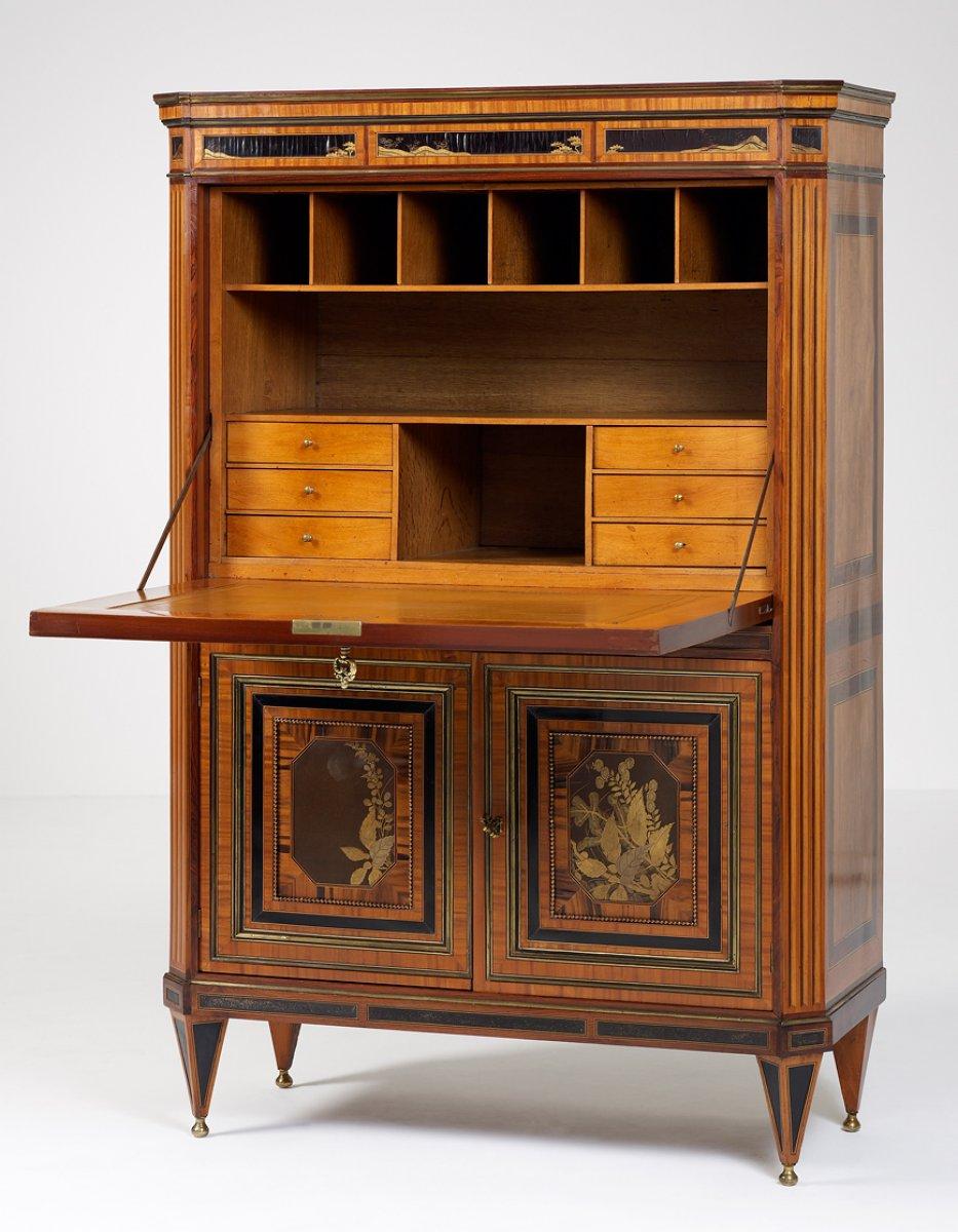 secr taire abattant hollandais d poque louis xvi xviiie si cle. Black Bedroom Furniture Sets. Home Design Ideas