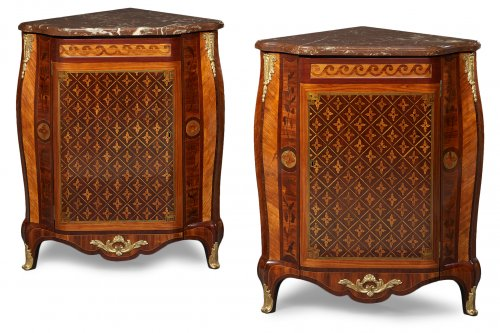 Pair of French Transitional Corner Cabinets
