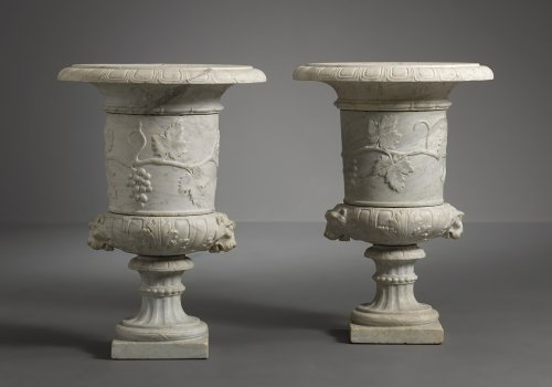 Pair of Italian Carara Marble Vases - Architectural & Garden Style