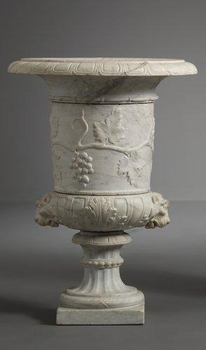 Architectural & Garden  - Pair of Italian Carara Marble Vases