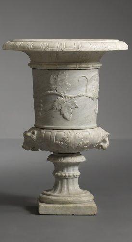 Pair of Italian Carara Marble Vases -