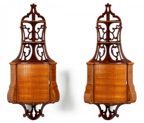 Pair of Dutch Hanging Corner Cabinets