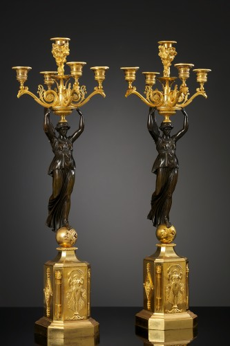 A pair of Empire Candelabra - Lighting Style Empire