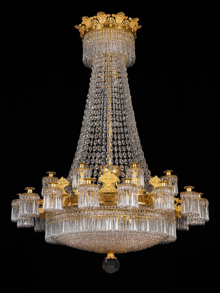 a large empire 24 light chandelier attributed to claude galle paris