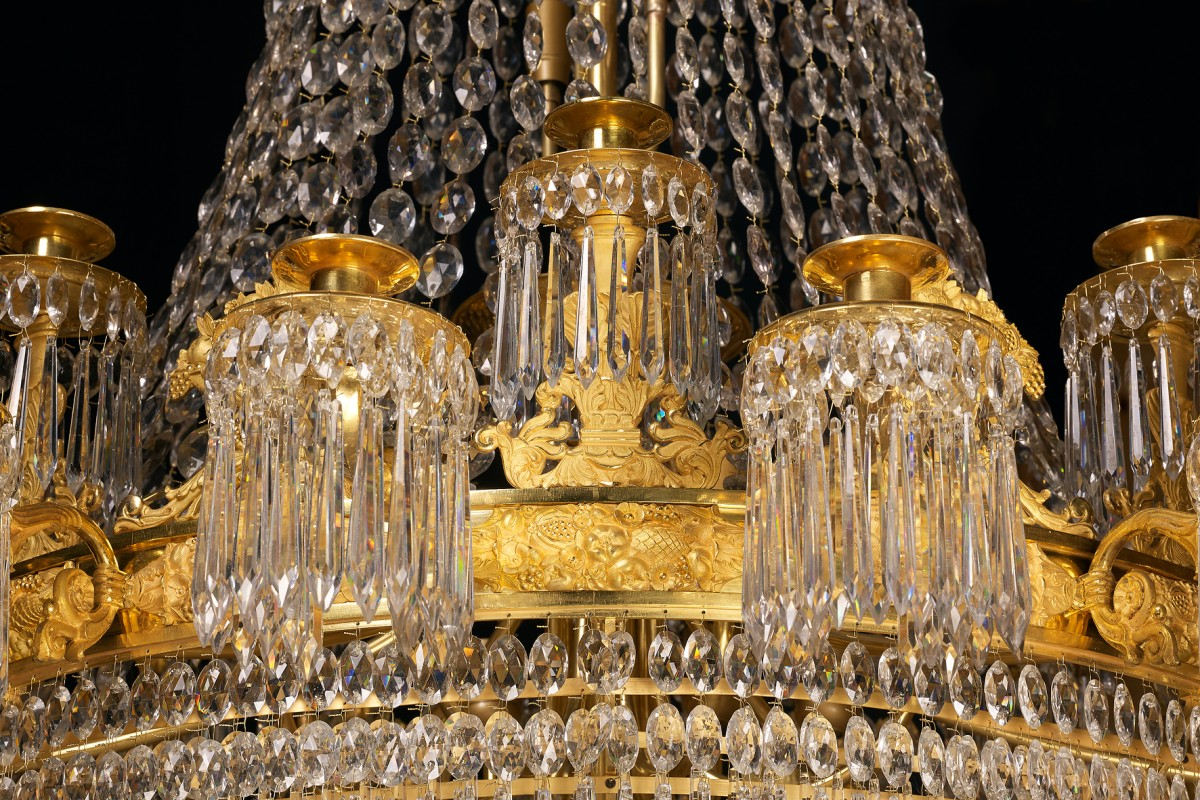 A large empire 24 light chandelier attributed to claude galle paris lighting a large empire 24 light chandelier attributed to claude galle arubaitofo Image collections