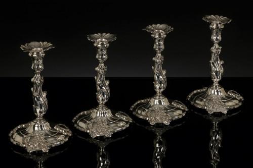 Four Silver Candlesticks, Leiden 1759-1760 Hendrik Fortman (1715-1807) - Antique Silver Style