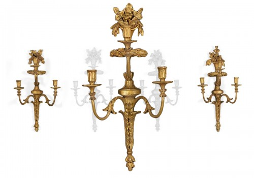 Four Dutch Giltwood Wall Lights