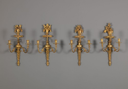 Four Dutch Giltwood Wall Lights - Lighting Style Louis XVI