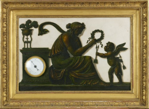 French Clock and Barometer with Trompe l'Oeil Decoration, Piat Joseph Sauva - Clocks Style Empire