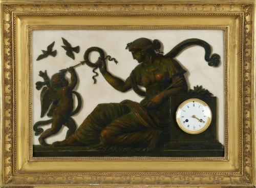 Clocks  - French Clock and Barometer with Trompe l'Oeil Decoration, Piat Joseph Sauva