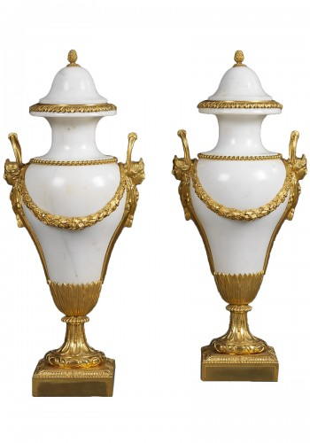 Pair of French Ormolu Mounted Marble Vases