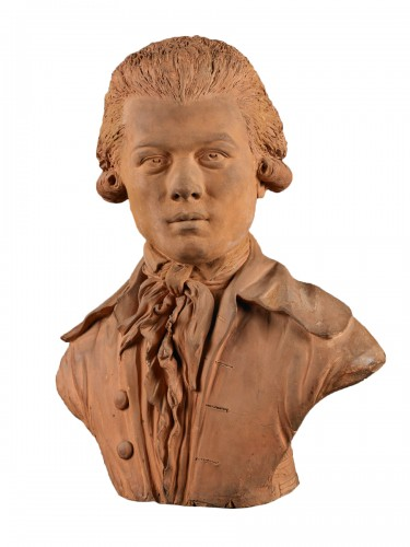 French Terracotta Bust of a Young Man