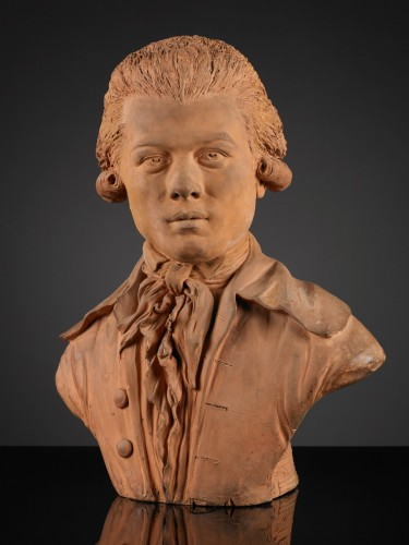 French Terracotta Bust of a Young Man - Sculpture Style
