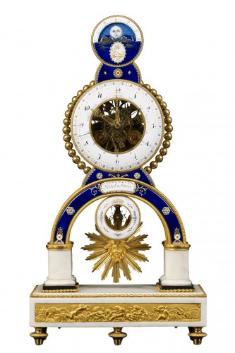 French Skeleton Clock with Full Calendar